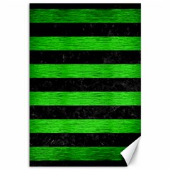 Stripes2 Black Marble & Green Brushed Metal Canvas 12  X 18   by trendistuff