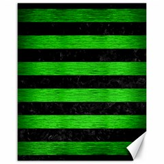 Stripes2 Black Marble & Green Brushed Metal Canvas 16  X 20   by trendistuff