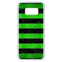 Stripes2 Black Marble & Green Brushed Metal Samsung Galaxy S8 White Seamless Case by trendistuff