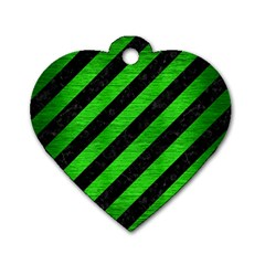 Stripes3 Black Marble & Green Brushed Metal Dog Tag Heart (one Side) by trendistuff