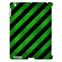 Stripes3 Black Marble & Green Brushed Metal Apple Ipad 3/4 Hardshell Case (compatible With Smart Cover) by trendistuff