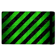 Stripes3 Black Marble & Green Brushed Metal Apple Ipad 2 Flip Case by trendistuff