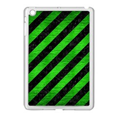 Stripes3 Black Marble & Green Brushed Metal Apple Ipad Mini Case (white) by trendistuff