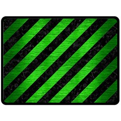 Stripes3 Black Marble & Green Brushed Metal Double Sided Fleece Blanket (large)  by trendistuff