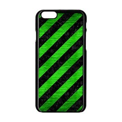 Stripes3 Black Marble & Green Brushed Metal Apple Iphone 6/6s Black Enamel Case by trendistuff