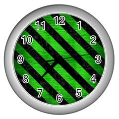 Stripes3 Black Marble & Green Brushed Metal (r) Wall Clocks (silver)  by trendistuff