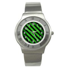 Stripes3 Black Marble & Green Brushed Metal (r) Stainless Steel Watch by trendistuff