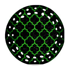 Tile1 Black Marble & Green Brushed Metal Round Filigree Ornament (two Sides) by trendistuff
