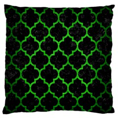 Tile1 Black Marble & Green Brushed Metal Large Flano Cushion Case (one Side) by trendistuff