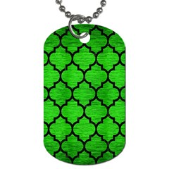 Tile1 Black Marble & Green Brushed Metal (r) Dog Tag (two Sides) by trendistuff