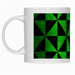 Triangle1 Black Marble & Green Brushed Metal White Mugs by trendistuff
