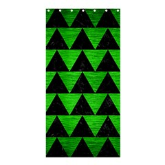 Triangle2 Black Marble & Green Brushed Metal Shower Curtain 36  X 72  (stall)  by trendistuff