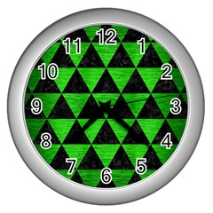 Triangle3 Black Marble & Green Brushed Metal Wall Clocks (silver)  by trendistuff