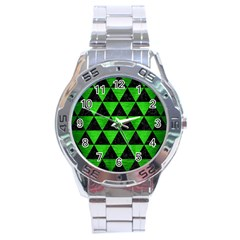 Triangle3 Black Marble & Green Brushed Metal Stainless Steel Analogue Watch by trendistuff