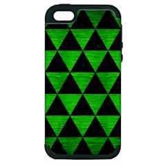 Triangle3 Black Marble & Green Brushed Metal Apple Iphone 5 Hardshell Case (pc+silicone) by trendistuff