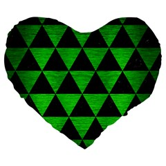 Triangle3 Black Marble & Green Brushed Metal Large 19  Premium Heart Shape Cushions by trendistuff