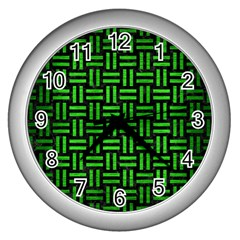 Woven1 Black Marble & Green Brushed Metal Wall Clocks (silver)  by trendistuff