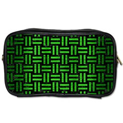 Woven1 Black Marble & Green Brushed Metal Toiletries Bags by trendistuff