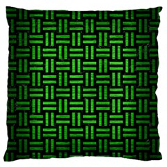 Woven1 Black Marble & Green Brushed Metal Large Flano Cushion Case (one Side) by trendistuff