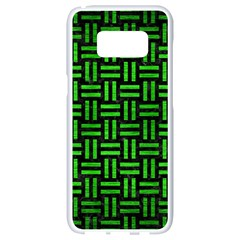 Woven1 Black Marble & Green Brushed Metal Samsung Galaxy S8 White Seamless Case by trendistuff