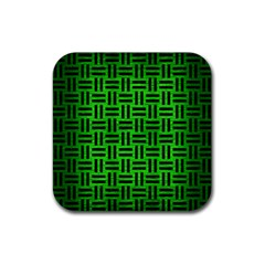 Woven1 Black Marble & Green Brushed Metal (r) Rubber Square Coaster (4 Pack)  by trendistuff