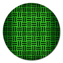 Woven1 Black Marble & Green Brushed Metal (r) Magnet 5  (round) by trendistuff