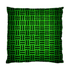 Woven1 Black Marble & Green Brushed Metal (r) Standard Cushion Case (one Side) by trendistuff