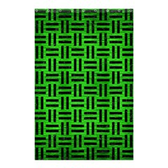 Woven1 Black Marble & Green Brushed Metal (r) Shower Curtain 48  X 72  (small)  by trendistuff