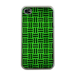Woven1 Black Marble & Green Brushed Metal (r) Apple Iphone 4 Case (clear) by trendistuff