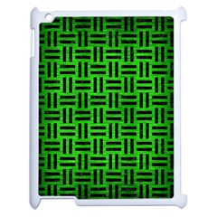 Woven1 Black Marble & Green Brushed Metal (r) Apple Ipad 2 Case (white) by trendistuff