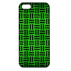 Woven1 Black Marble & Green Brushed Metal (r) Apple Iphone 5 Seamless Case (black) by trendistuff