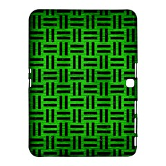 Woven1 Black Marble & Green Brushed Metal (r) Samsung Galaxy Tab 4 (10 1 ) Hardshell Case  by trendistuff