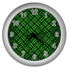 Woven2 Black Marble & Green Brushed Metal Wall Clocks (silver)  by trendistuff