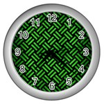 WOVEN2 BLACK MARBLE & GREEN BRUSHED METAL Wall Clocks (Silver)  Front