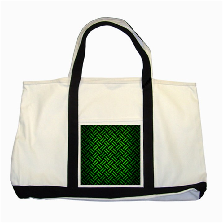 WOVEN2 BLACK MARBLE & GREEN BRUSHED METAL Two Tone Tote Bag
