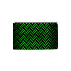 Woven2 Black Marble & Green Brushed Metal Cosmetic Bag (small)  by trendistuff