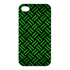 Woven2 Black Marble & Green Brushed Metal Apple Iphone 4/4s Hardshell Case by trendistuff