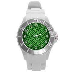 Woven2 Black Marble & Green Brushed Metal (r) Round Plastic Sport Watch (l) by trendistuff