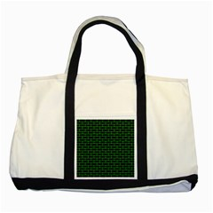 Brick1 Black Marble & Green Colored Pencil Two Tone Tote Bag by trendistuff