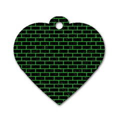 Brick1 Black Marble & Green Colored Pencil Dog Tag Heart (one Side) by trendistuff
