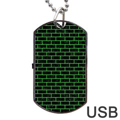 Brick1 Black Marble & Green Colored Pencil Dog Tag Usb Flash (one Side)