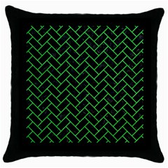 Brick2 Black Marble & Green Colored Pencil Throw Pillow Case (black) by trendistuff