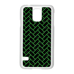 Brick2 Black Marble & Green Colored Pencil Samsung Galaxy S5 Case (white) by trendistuff