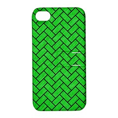 Brick2 Black Marble & Green Colored Pencil (r) Apple Iphone 4/4s Hardshell Case With Stand by trendistuff