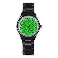 Brick2 Black Marble & Green Colored Pencil (r) Stainless Steel Round Watch by trendistuff