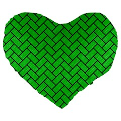 Brick2 Black Marble & Green Colored Pencil (r) Large 19  Premium Flano Heart Shape Cushions by trendistuff