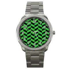 Chevron1 Black Marble & Green Colored Pencil Sport Metal Watch by trendistuff
