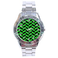 Chevron1 Black Marble & Green Colored Pencil Stainless Steel Analogue Watch by trendistuff