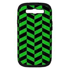 Chevron1 Black Marble & Green Colored Pencil Samsung Galaxy S Iii Hardshell Case (pc+silicone) by trendistuff