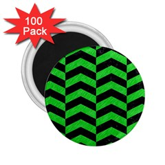 Chevron2 Black Marble & Green Colored Pencil 2 25  Magnets (100 Pack)  by trendistuff